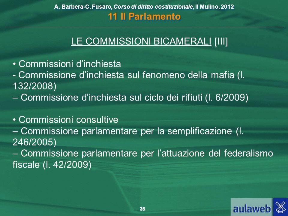 LE COMMISSIONI BICAMERALI [III]